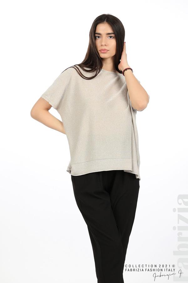 Блуза фино плетиво с ламе бежов 1 fabrizia