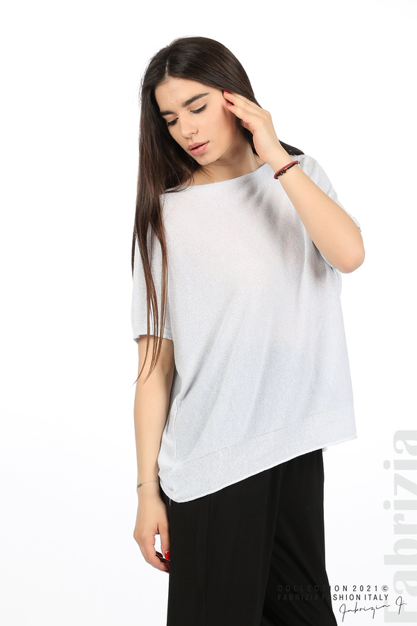 Блуза фино плетиво с ламе св.сив 4 fabrizia