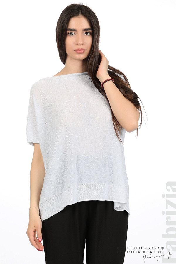 Блуза фино плетиво с ламе св.сив 1 fabrizia