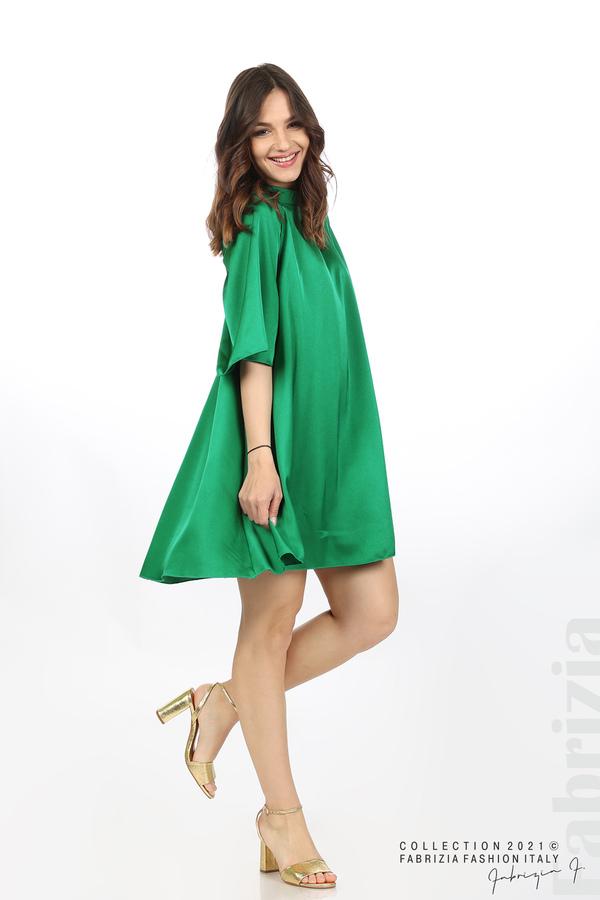 Сатенирана рокля с гол гръб зелен 1 fabrizia