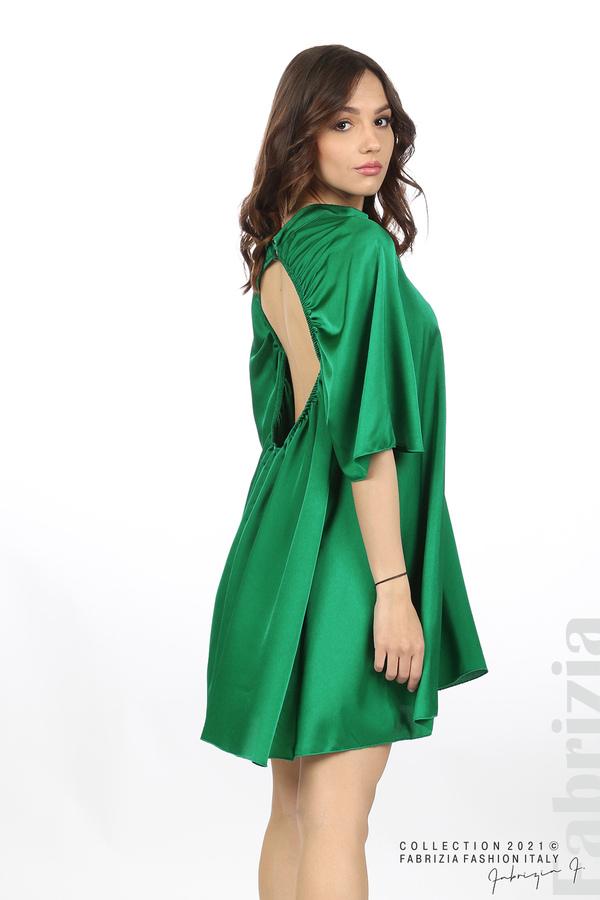 Сатенирана рокля с гол гръб зелен 3 fabrizia