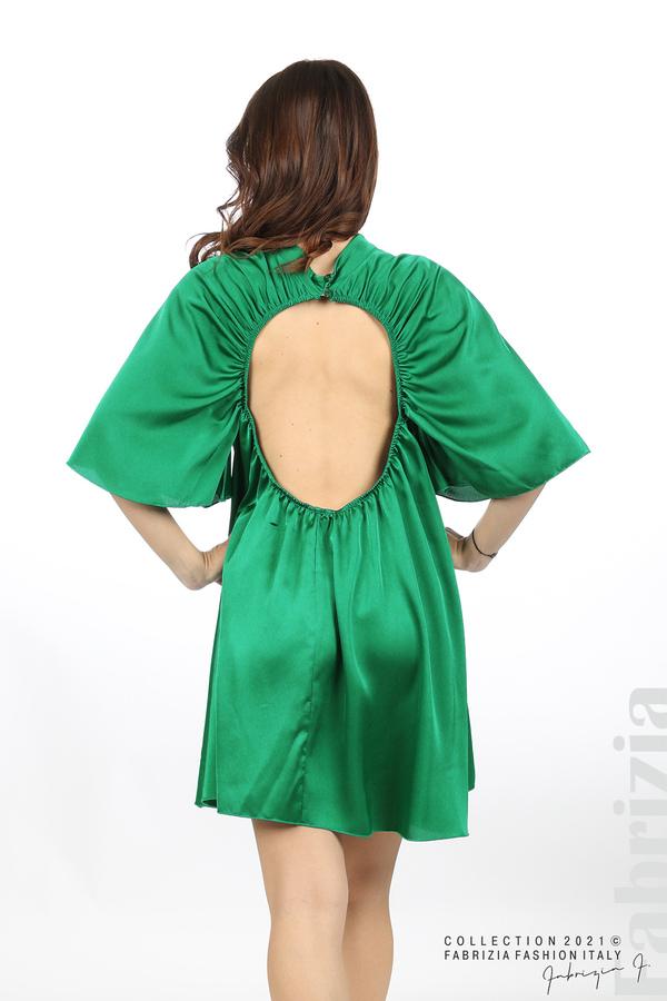 Сатенирана рокля с гол гръб зелен 6 fabrizia