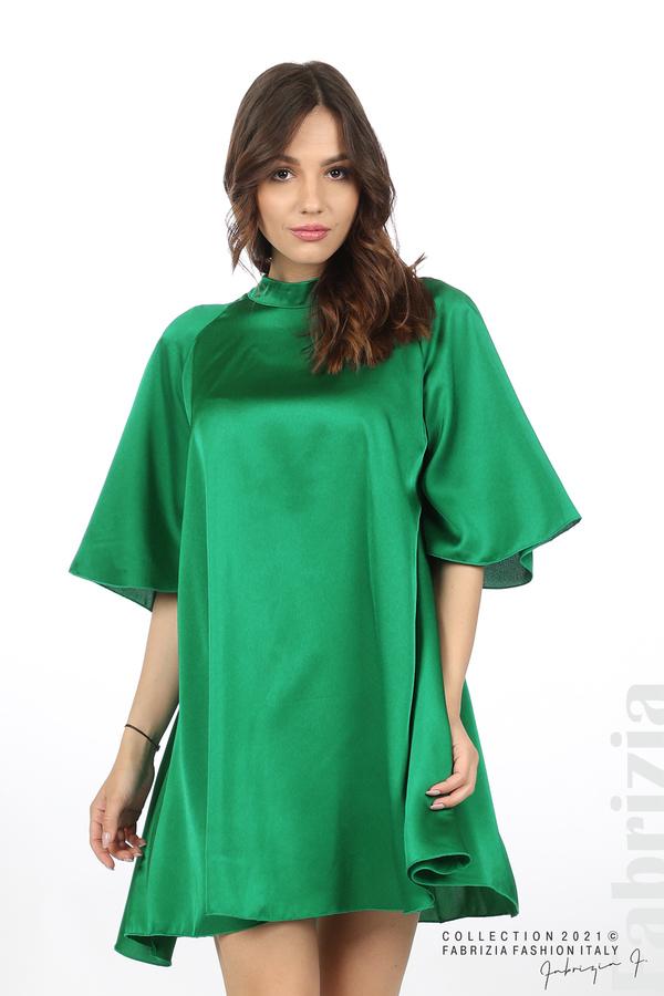 Сатенирана рокля с гол гръб зелен 4 fabrizia