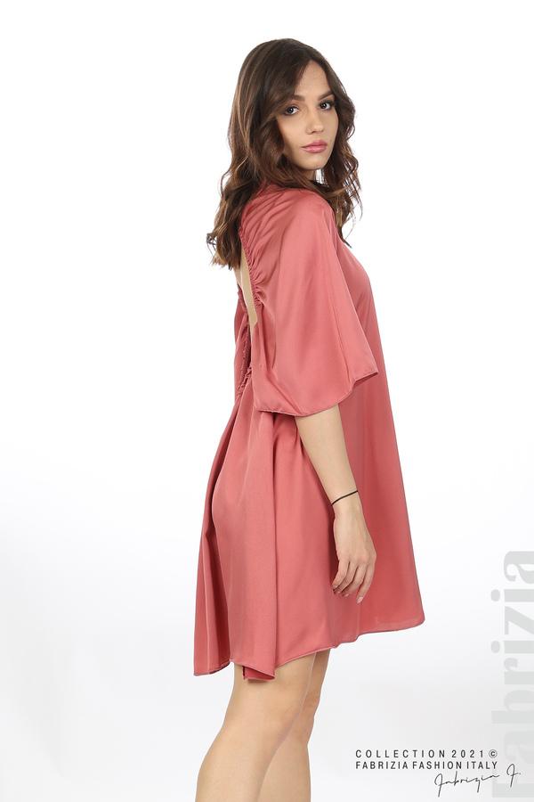 Сатенирана рокля с гол гръб т.корал 3 fabrizia