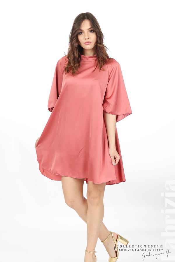 Сатенирана рокля с гол гръб т.корал 4 fabrizia