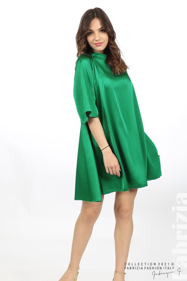 Сатенирана рокля с гол гръб зелен 5 fabrizia