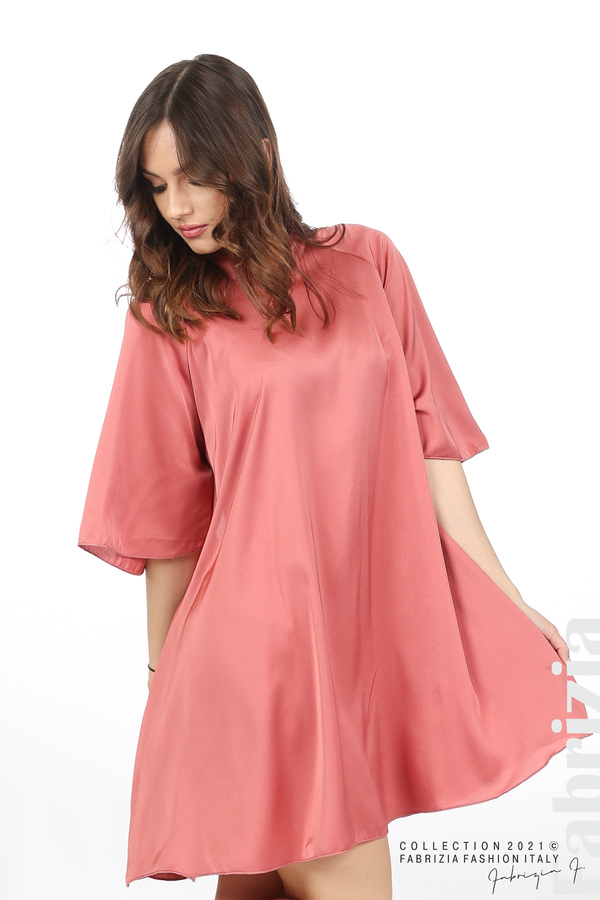 Сатенирана рокля с гол гръб т.корал 5 fabrizia