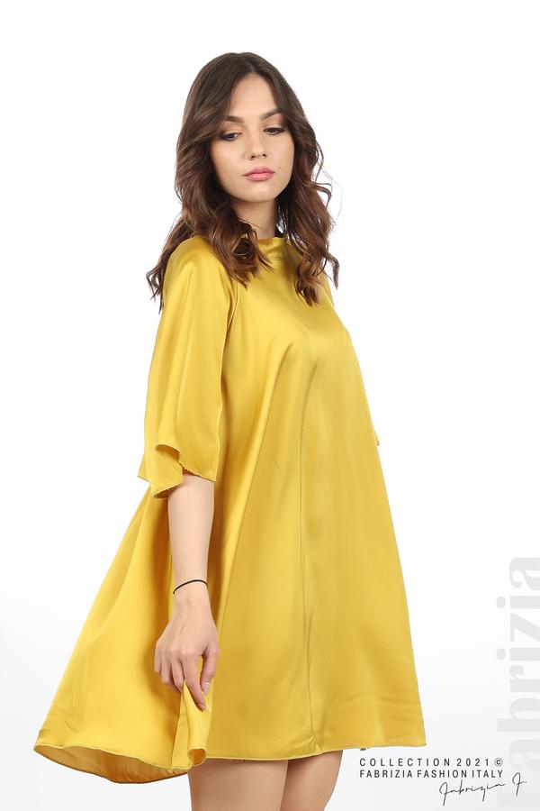 Сатенирана рокля с гол гръб горчица 4 fabrizia