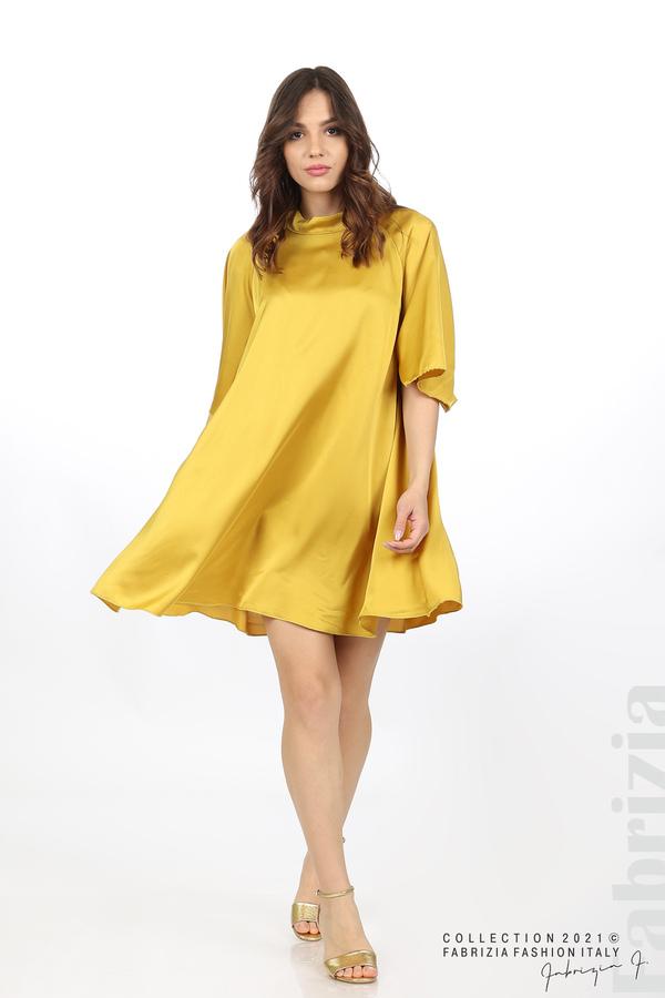 Сатенирана рокля с гол гръб горчица 3 fabrizia