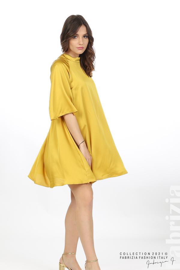 Сатенирана рокля с гол гръб горчица 5 fabrizia