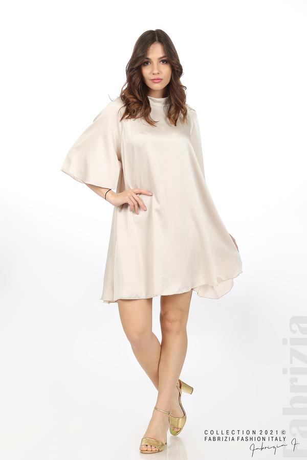 Сатенирана рокля с гол гръб шампанско 2 fabrizia