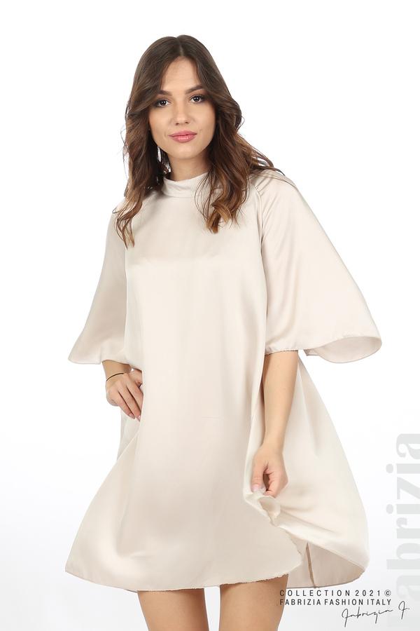 Сатенирана рокля с гол гръб шампанско 1 fabrizia