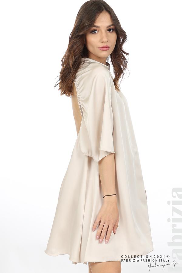 Сатенирана рокля с гол гръб шампанско 5 fabrizia