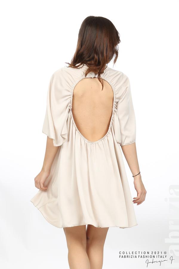 Сатенирана рокля с гол гръб шампанско 6 fabrizia