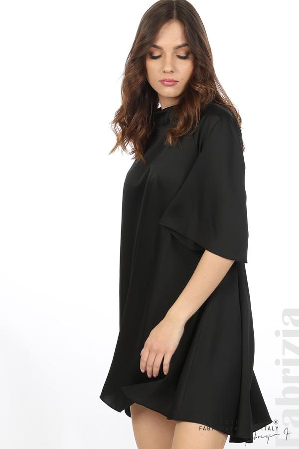 Сатенирана рокля с гол гръб черен 3 fabrizia