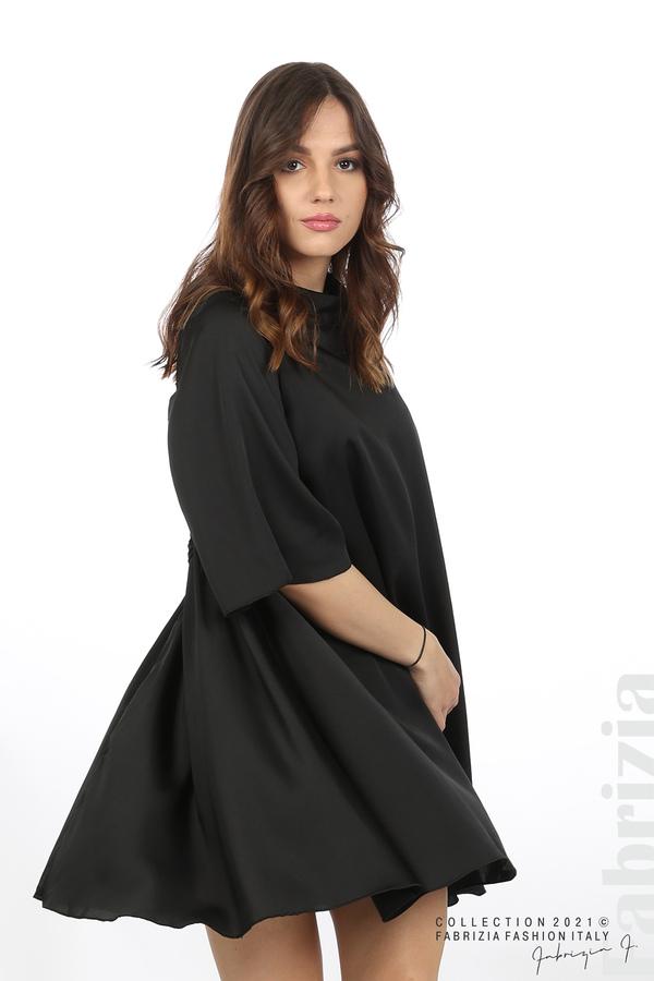 Сатенирана рокля с гол гръб черен 1 fabrizia
