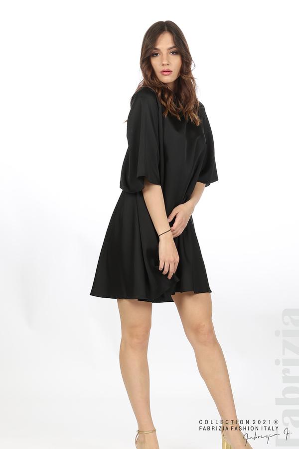 Сатенирана рокля с гол гръб черен 4 fabrizia