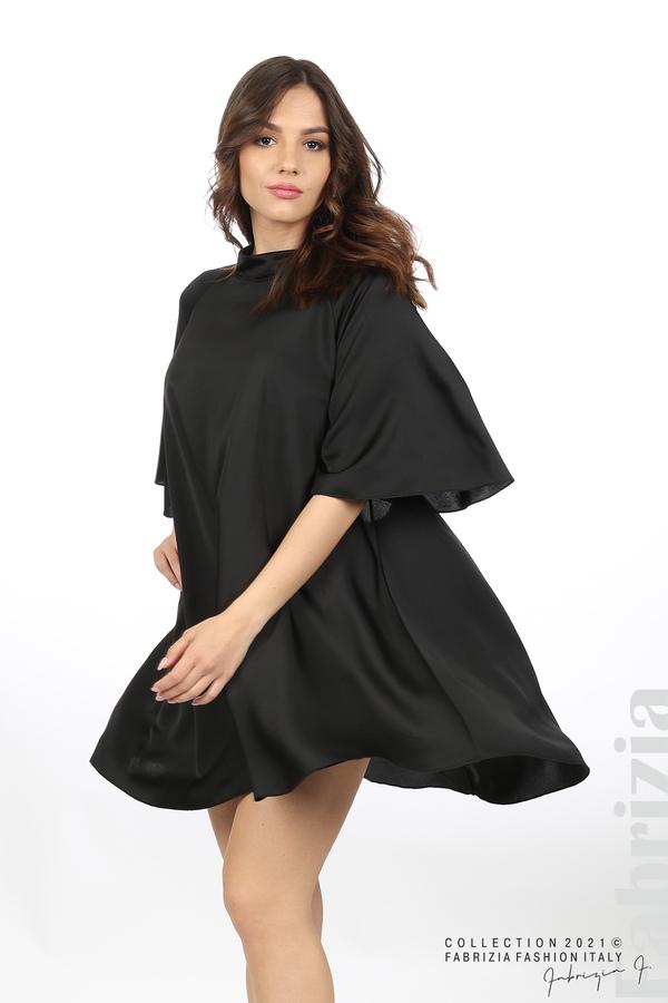 Сатенирана рокля с гол гръб черен 5 fabrizia