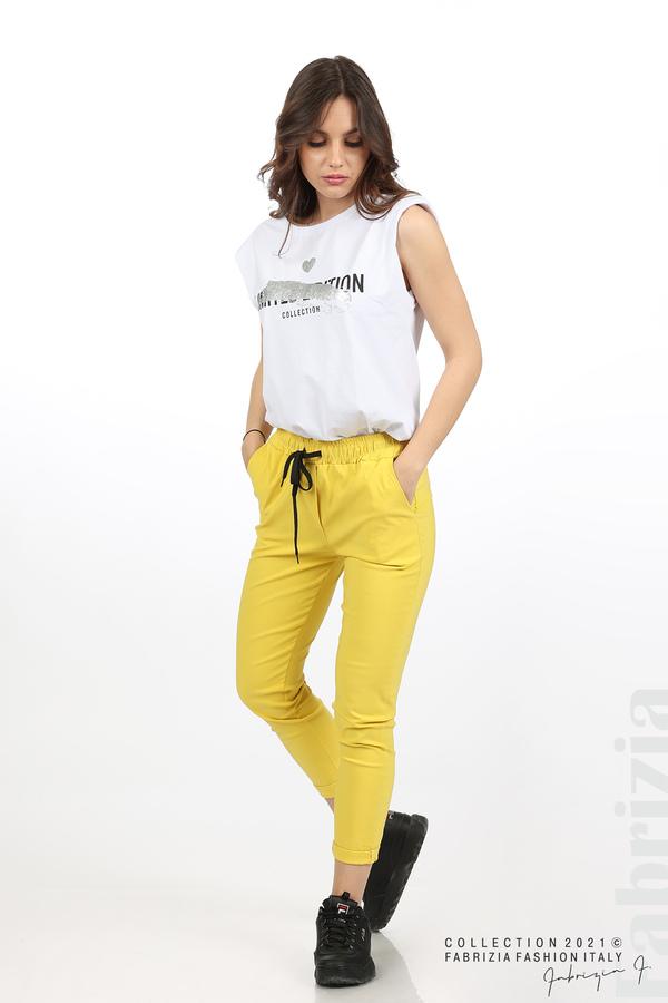 Едноцветен панталон с ластична талия жълт 1 fabrizia