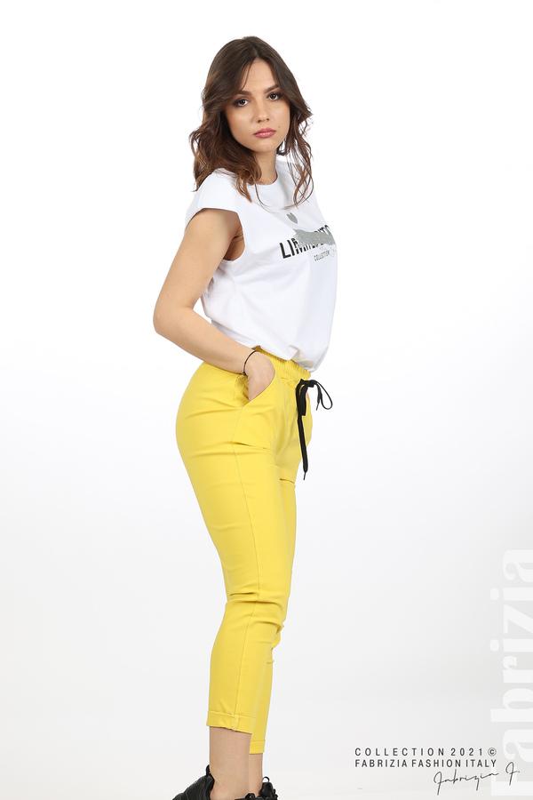 Едноцветен панталон с ластична талия жълт 3 fabrizia
