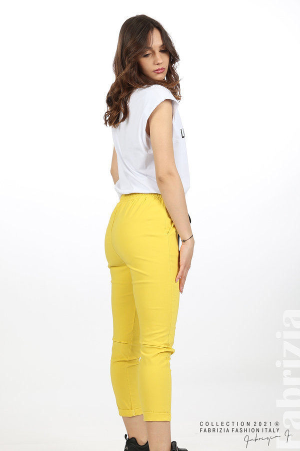 Едноцветен панталон с ластична талия жълт 5 fabrizia