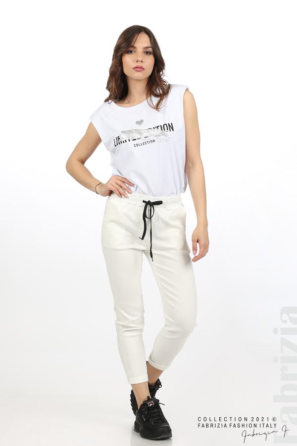 Едноцветен панталон с ластична талия екрю 1 fabrizia