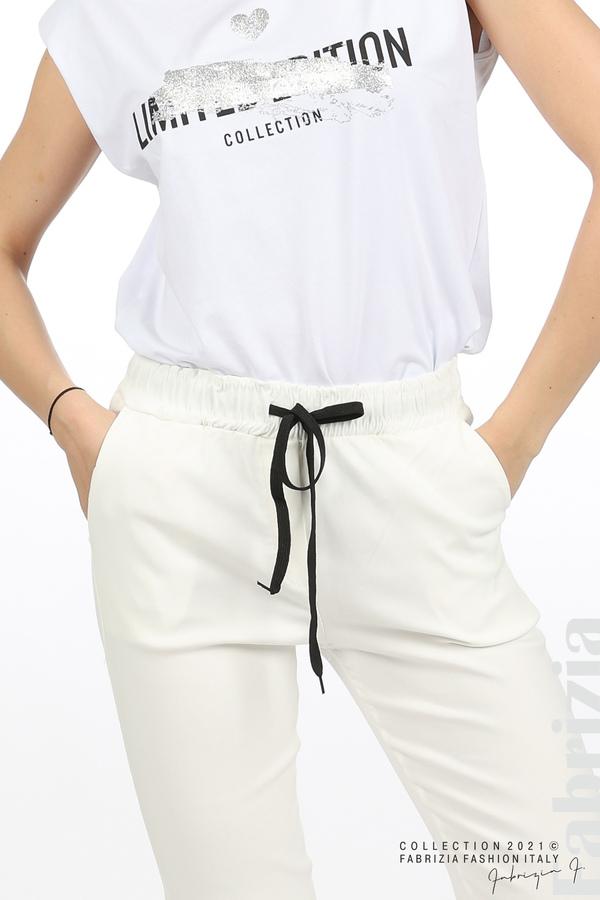 Едноцветен панталон с ластична талия екрю 4 fabrizia