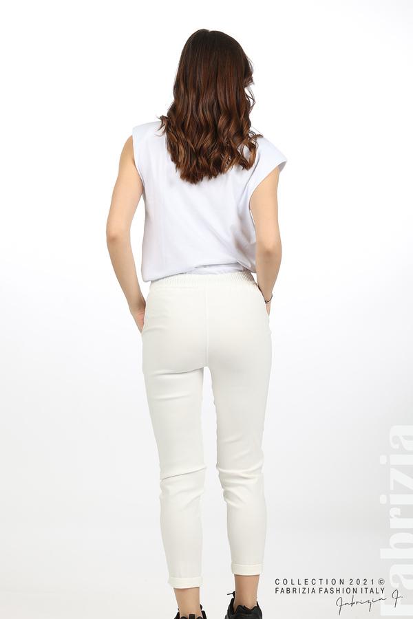 Едноцветен панталон с ластична талия екрю 6 fabrizia