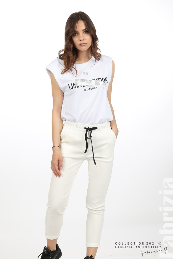 Едноцветен панталон с ластична талия екрю 5 fabrizia