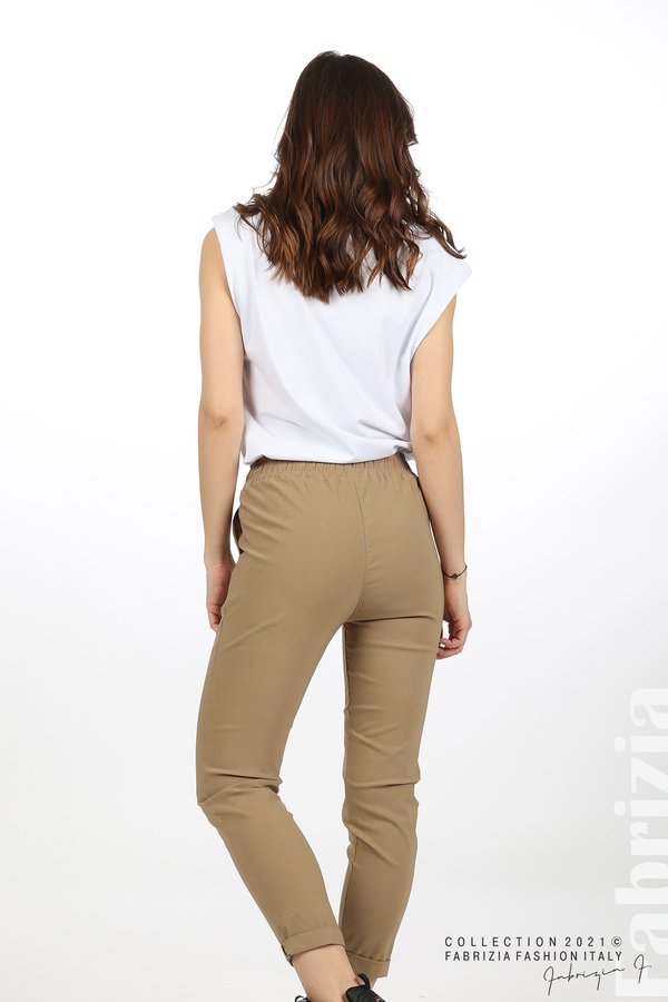 Едноцветен панталон с ластична талия капучино 8 fabrizia
