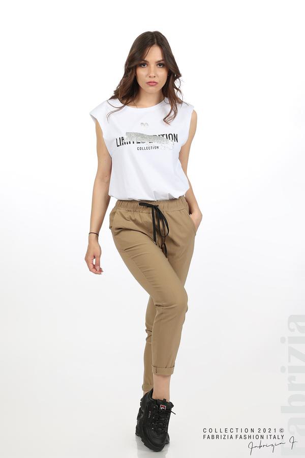 Едноцветен панталон с ластична талия капучино 1 fabrizia