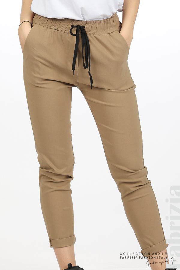 Едноцветен панталон с ластична талия капучино 2 fabrizia
