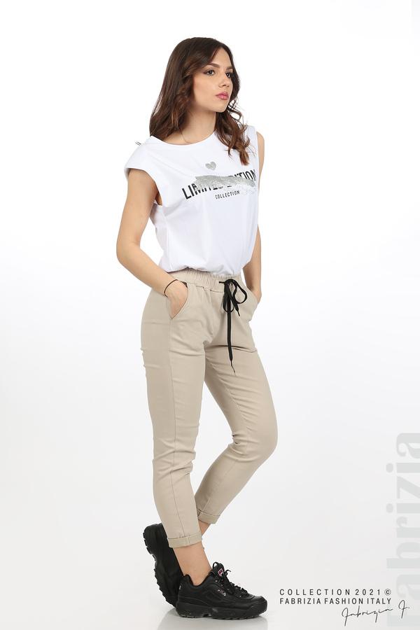Едноцветен панталон с ластична талия бежов 1 fabrizia