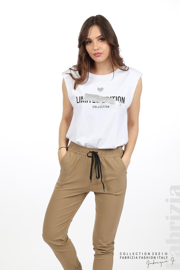 Едноцветен панталон с ластична талия капучино 6 fabrizia