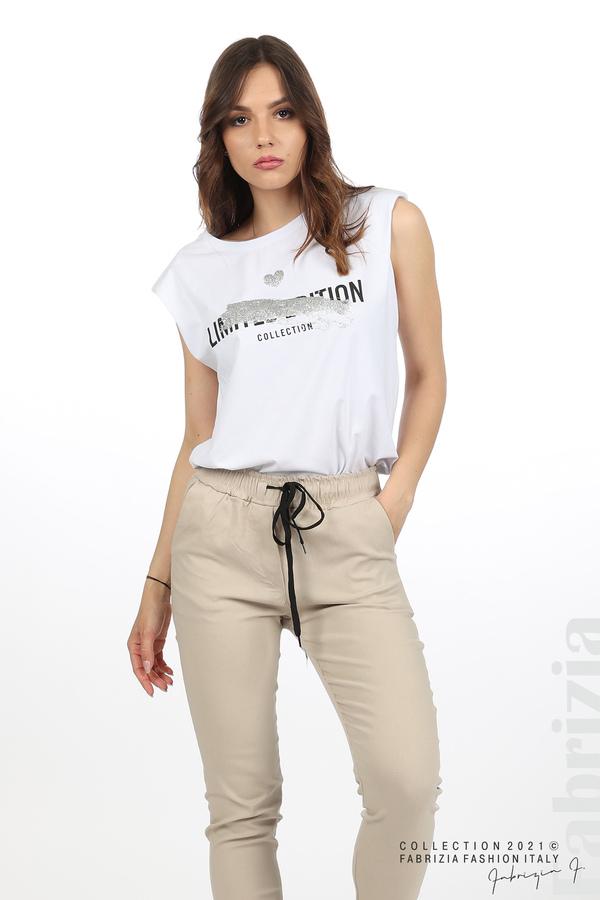 Едноцветен панталон с ластична талия бежов 5 fabrizia