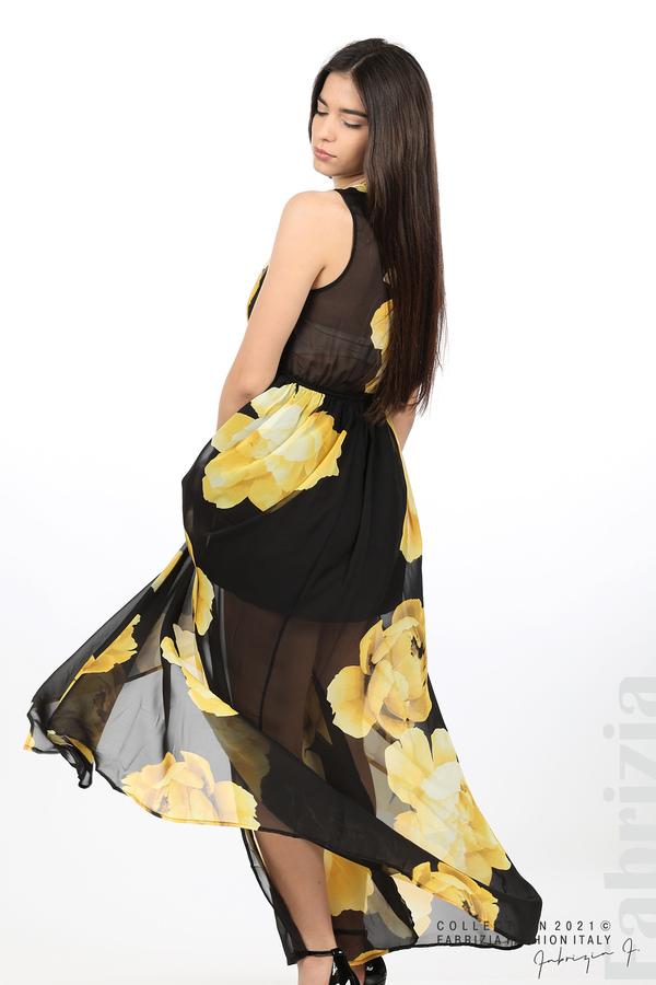 Дълга рокля цветя черен/жълт 3 fabrizia