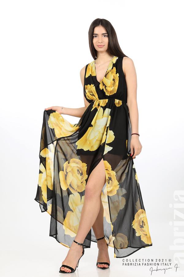 Дълга рокля цветя черен/жълт 1 fabrizia