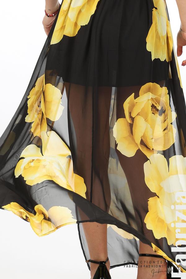 Дълга рокля цветя черен/жълт 5 fabrizia