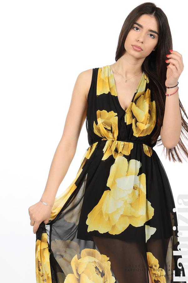 Дълга рокля цветя черен/жълт 2 fabrizia