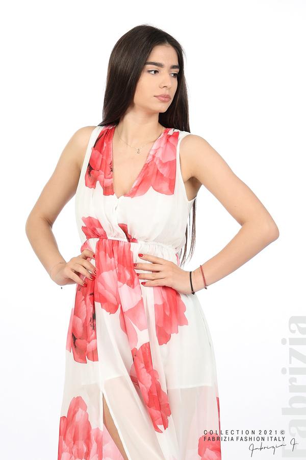 Дълга рокля цветя бял/червен 1 fabrizia