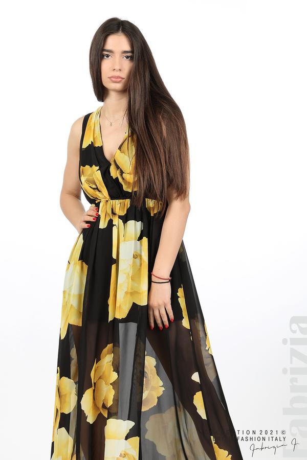 Дълга рокля цветя черен/жълт 6 fabrizia
