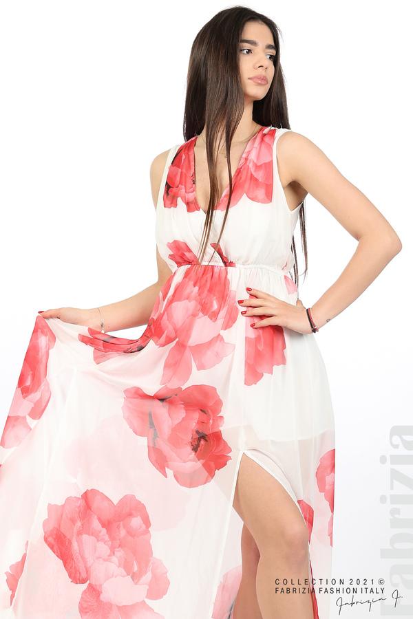 Дълга рокля цветя бял/червен 5 fabrizia