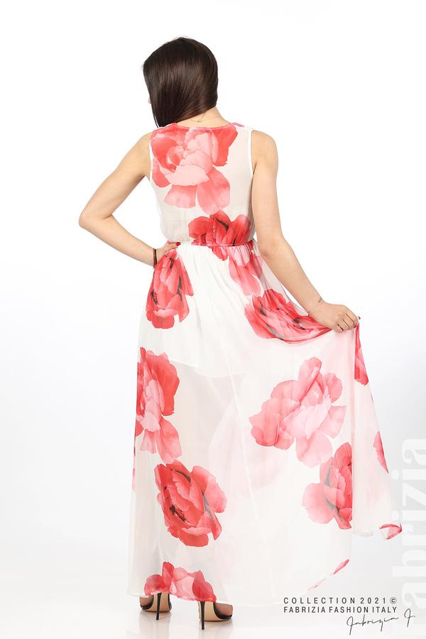 Дълга рокля цветя бял/червен 6 fabrizia