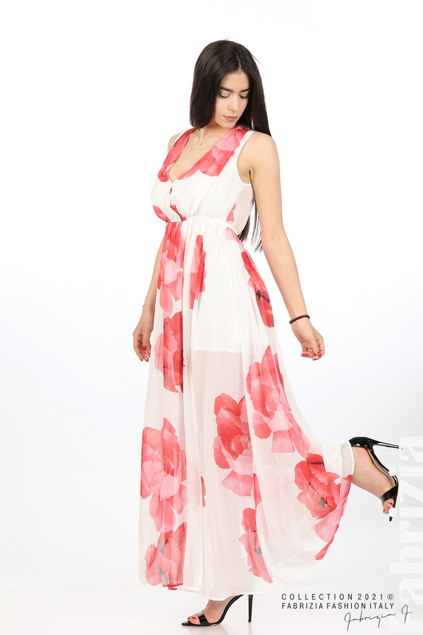 Дълга рокля цветя бял/червен 3 fabrizia