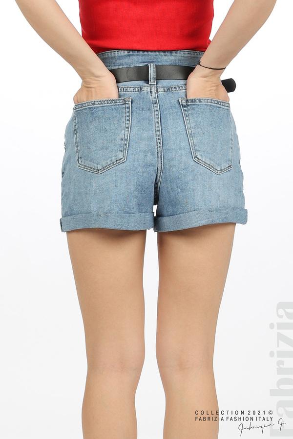 Къси сини дънки с колан 6 fabrizia