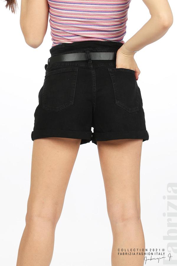 Къси черни дънки с колан черен 7 fabrizia