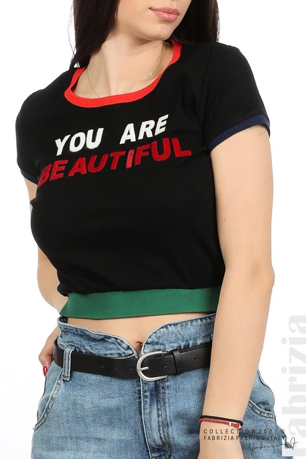 Дамска блуза You are beautiful черен 2 fabrizia