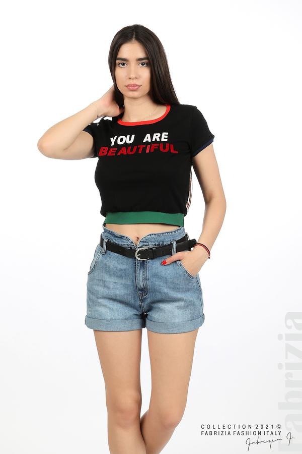 Дамска блуза You are beautiful черен 1 fabrizia