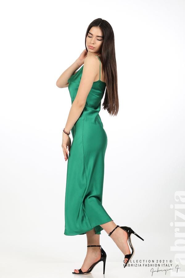 Сатенирана дълга рокля зелен 1 fabrizia