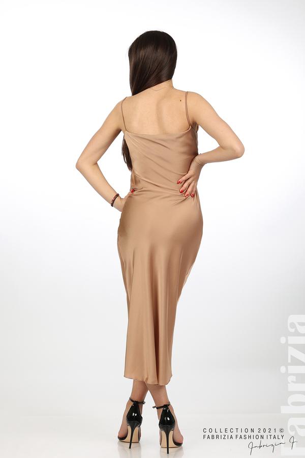 Сатенирана дълга рокля карамел 5 fabrizia